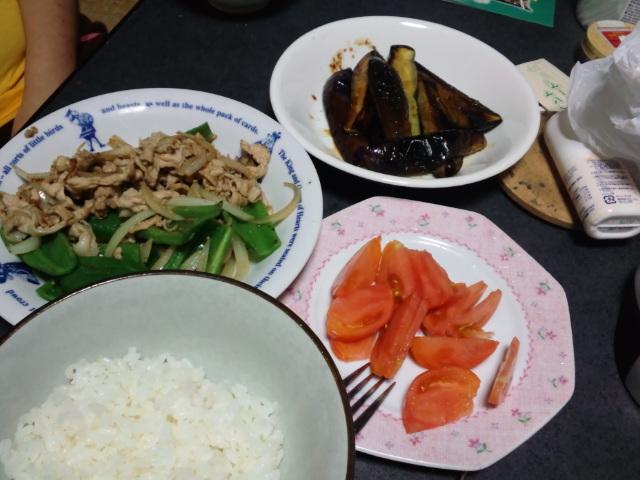 我が家産野菜で夕食