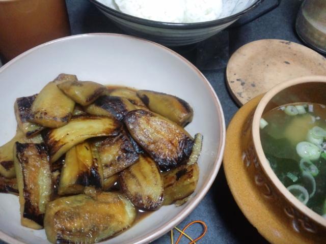 昼食。これでもかとナスの生姜醤油