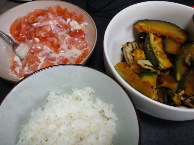 昼食。野菜の焼き浸しとトマトサラダ