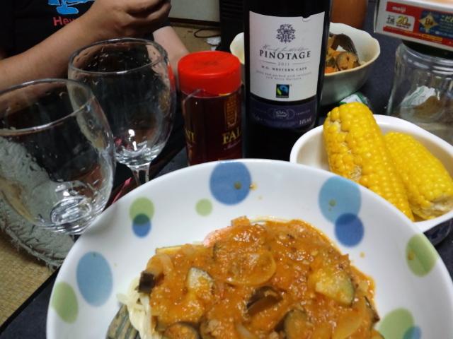 夕食。ナスとトマトのルーマニア風