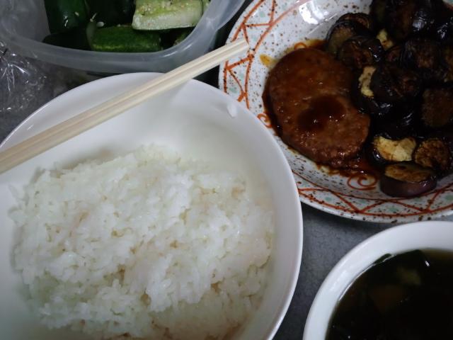 遅めの昼食。照り焼きバーグとナス炒め